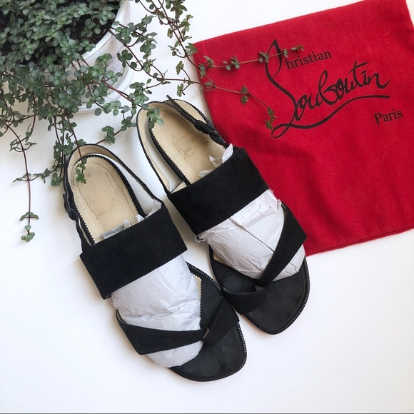 cdf93b94745 Christian Louboutin AUTHENTIC Black Suede Sandals